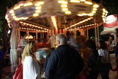 Carousel Moving at Night Royalty Free Stock Image