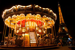 Carousel near Eiffel Tower Stock Images
