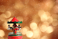 Carousel on neon background. Royalty Free Stock Images