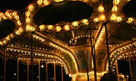 Carousel in night. Illumination of a carousel in a night royalty free stock image