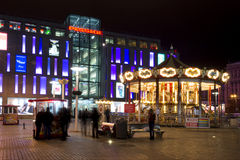 Carousel at night in the square Dnepropetrovsk Royalty Free Stock Photo