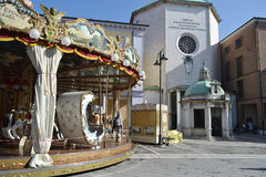 Carousel on Piazza Tre Martiri in the center of Rimini Royalty Free Stock Photo