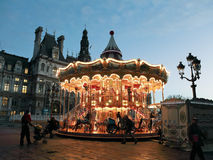 Carousel at Place de Hotel de Ville in Paris Stock Photography