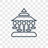 Carousel pojęcia wektorowa liniowa ikona odizolowywająca na przejrzystym plecy royalty ilustracja