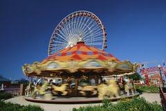 Carousel przy park rozrywki Obrazy Stock