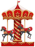 A carousel ride with horses stock illustration