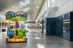 Carousel ride for kids at the mall stock image
