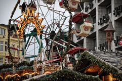 Carousel rotating at Christmas market fair in Cologne, Germany Royalty Free Stock Image