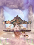 Carousel. In the sky with horses and floating island Stock Photo