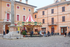 Carousel in a square in Ravenna, Italy Royalty Free Stock Images