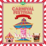 Activities of carnival and festival design. Carousel striped tent and stand. Carnival festival fair circus and celebration theme. Colorful and frame design Royalty Free Stock Images