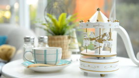 Carousel toy on the table stock footage