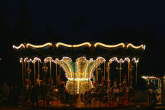 Carousel Velden, Austria. Carousel during night in advent,sparkling lights,old school design Royalty Free Stock Images