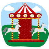 Carousel z trzy koniami Fotografia Stock
