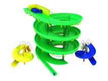 Carousels воды Aquapark зеленеют, синь, желтое 3d представляют на белизне бесплатная иллюстрация
