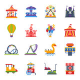 Carousels amusement attraction park side-show kids outdoor entertainment construction vector illustration. Royalty Free Stock Photos