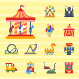 Carousels amusement attraction park side-show kids outdoor entertainment construction vector illustration. Slides and swings amusement park, ferris wheel Stock Photos