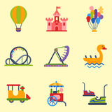 Carousels amusement attraction park side-show kids outdoor. Slides and swings amusement park, ferris wheel attraction park. Carnival amusement leisure festival vector illustration