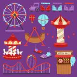 Carousels amusement attraction side-show kids park construction vector illustration. Slides and swings amusement park, ferris wheel attraction park. Carnival Stock Photography