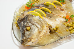 Carp in aspic as a dish - decked Royalty Free Stock Image
