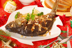 Carp baked with almonds for christmas Royalty Free Stock Photography