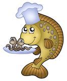 Carp chef with earthworms. Color illustration Stock Photos
