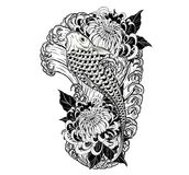 Carp fish and chrysanthemum tattoo by hand drawing. Tattoo art highly detailed in line art style Stock Photography