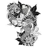 Carp fish and chrysanthemum tattoo by hand drawing. Tattoo art highly detailed in line art style Royalty Free Stock Photo