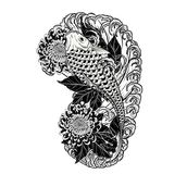 Carp fish and chrysanthemum tattoo by hand drawing. Tattoo art highly detailed in line art style Royalty Free Stock Images