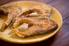 Carp fish slices roasted Royalty Free Stock Photo