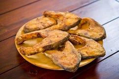 Carp fish slices roasted Royalty Free Stock Image