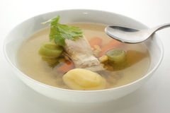 Carp fish soup with organic herbs Stock Images