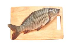 Carp fish on a wood Stock Images