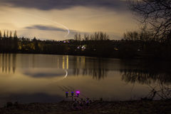 Carp Fishing Angling at Night with illuminated Alarms. Carp Fishing Angling at lake at Night with illuminated Alarms stock image
