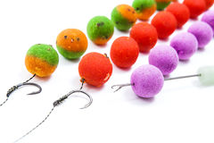 Carp fishing. Different of carp boilies and accessories for carp Stock Photo