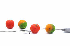 Carp fishing. Different of carp boilies and accessories for carp Stock Photos