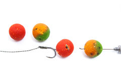 Carp fishing. Different of carp boilies and accessories for carp Royalty Free Stock Photos