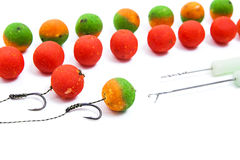 Carp fishing. Different of carp boilies and accessories for carp Stock Photography