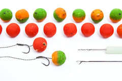 Carp fishing. Different of carp boilies and accessories for carp Royalty Free Stock Photo