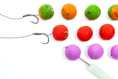 Carp fishing. Different of carp boilies and accessories for carp Royalty Free Stock Images