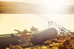 Fishing rods on the lake Royalty Free Stock Images