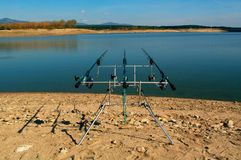 Carp fishing. Two angling scene. Looking along three carp rods towards a pond. Carp fishing. Rods on a rod pod with the swingers attached ready to catch some royalty free stock photo