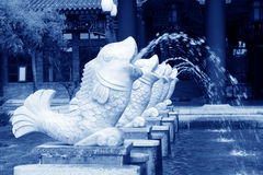 Carp fountain sculpture Royalty Free Stock Images