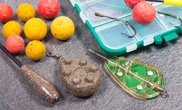 Carp Hook Boilies and Fishing Equipment - close up. Royalty Free Stock Photo