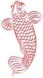 Carp, Japanese or Chinese style drawing. Carp, red fish, Japanese or Chinese style drawing, tattoo,  image, Japan, China Royalty Free Stock Photography
