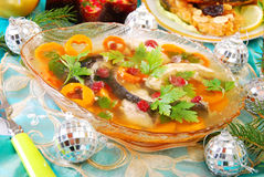 Carp in jelly for christmas Stock Photography