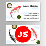 Carp Koi Asian style template business card. Template for business card with sun and carp koi in Japanese style. Vector illustration Royalty Free Stock Images