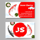 Carp Koi Asian style template business card. Template for business card with sun and carp koi in Japanese style. Vector illustration Stock Images