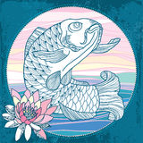 Carp with pink waterlily in the round frame Royalty Free Stock Images
