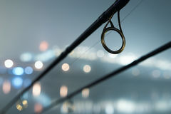 Carp rods in foggy night. Urban Edition. Night Fishing Royalty Free Stock Photography